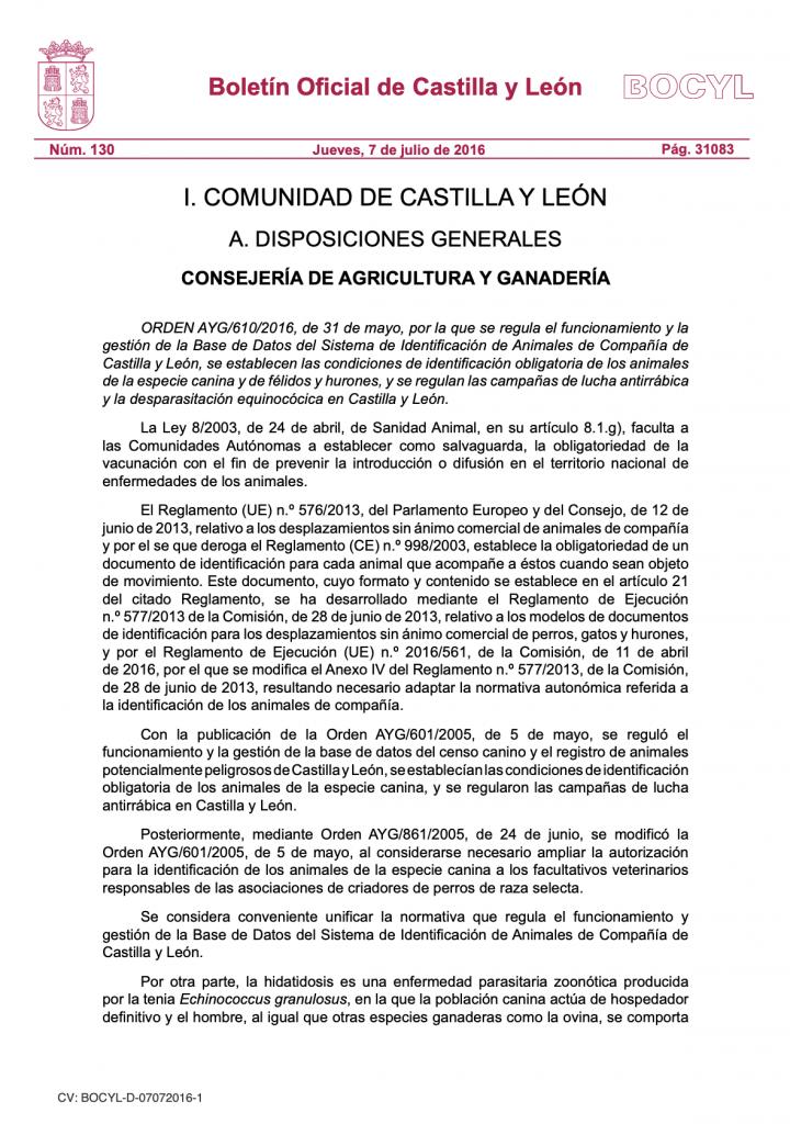 Legislación - Rabia Castilla y León
